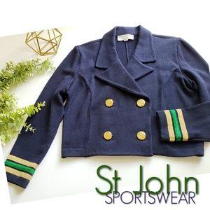 ST JOHN nautical crop Santana knit jacket sweater